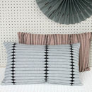 Pale Blue And Black Rectangle Cushion