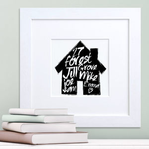 Handpainted Family House Print - art & pictures