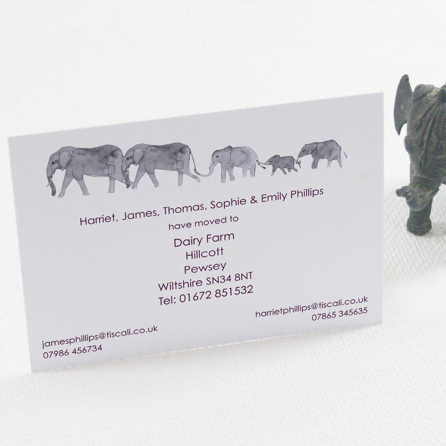 personalised elephant family change of address card by this is
