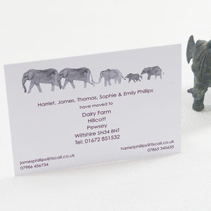 Personalised Elephant Family Change Of Address Card - new home cards