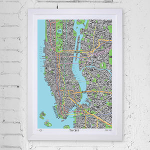 Hand Drawn Map Of New York - posters & prints