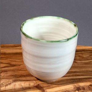 Ceramic Porcelain Copper Green Rim Yunomi Cup - cups & saucers