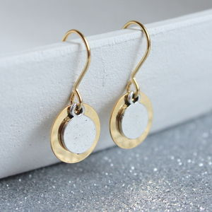 Mixed Metal Double Disc Earrings - mixed metals