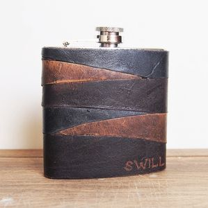 Personalised Rugged Leather Hip Flask - gifts for him