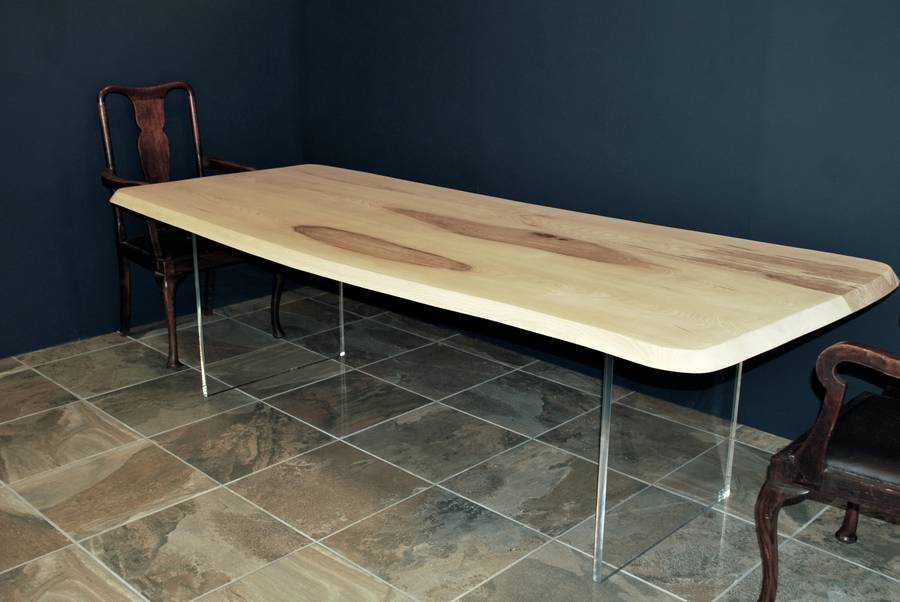 Floating oak dining table with perspex legs by sandman for Floating dining table