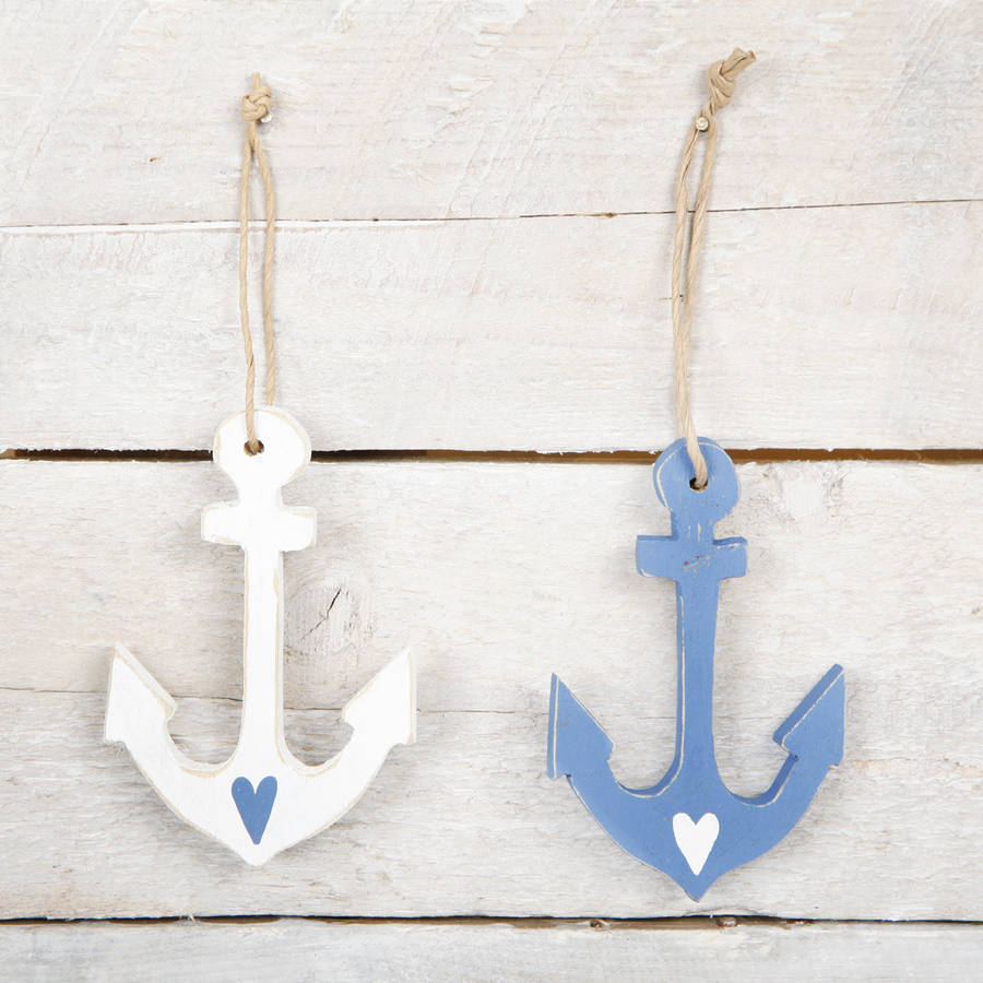 Small Wooden Anchor Hanging Decoration