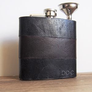 Customised Leather Hip Flask - best man & usher gifts