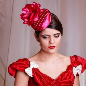 Striped Silk Fabric Headpiece