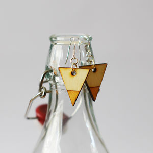 Wooden Triangle Earrings - earrings