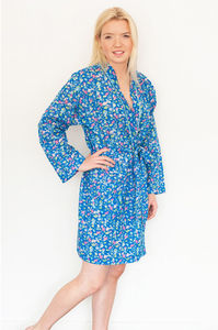 Short Bathrobe Kimono In Blue Isabel Cobalt Print