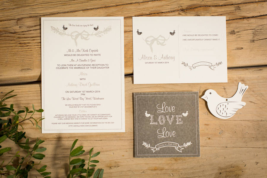 love birds wedding invitations by paper dates | notonthehighstreet, Wedding invitations