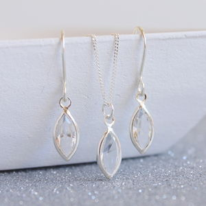 Marquise Cut Swarovski Crystal Jewellery Set - wedding earrings