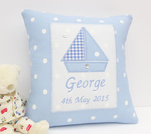 Personalised New Baby Boy Gift - personalised cushions