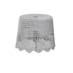 Stone Grey Crochet Lampshade - lighting
