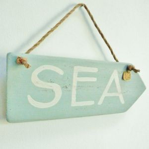 Reclaimed Wood Sea Sign With Charm