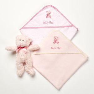 Personalised Pink Teddy Dry And Cuddle Set