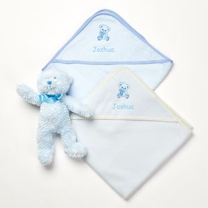 Personalised Blue Teddy Dry And Cuddle Set