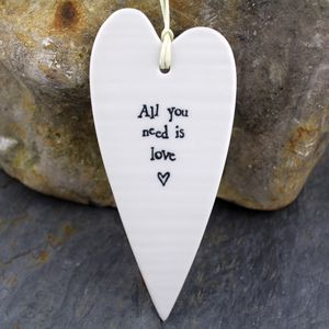 Porcelain 'All You Need Is Love' Hanging Heart - room decorations
