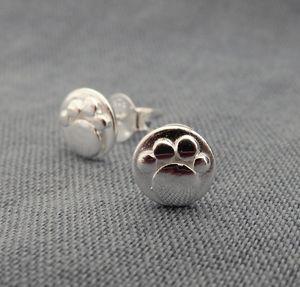 Mini Silver Paw Print Studs - earrings