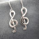 Silver Treble Clef Drop Earrings
