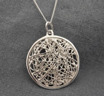 Spaghetti Silver Pendant And Chain