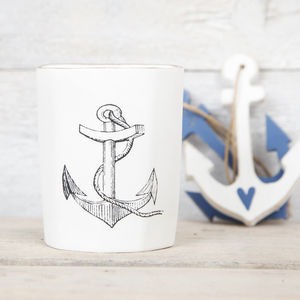 Off White Anchor Candle Votive Holder - tableware