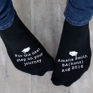 Next Step On Your Journey Graduation Socks - underwear & socks