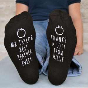 Best Teacher Apple Design Socks - gifts for teachers