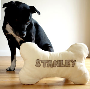 Personalised Embroidered Dog Bone Cushion - beds & sleeping