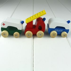 Hand Painted Set Of Emergency Vehicles - educational toys