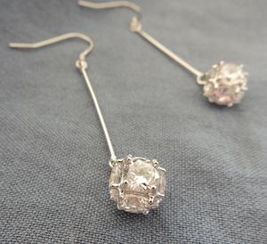 Glitter Ball Sterling Silver Drops - earrings