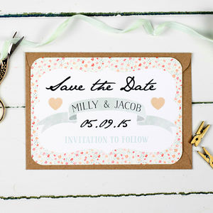 Floral Keepsake Wedding Save The Date - wedding stationery