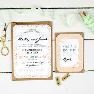 Floral Keepsake Wedding Invitation And RSVP - parties