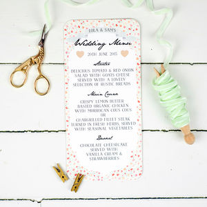 Floral Keepsake Wedding Menu - table decorations