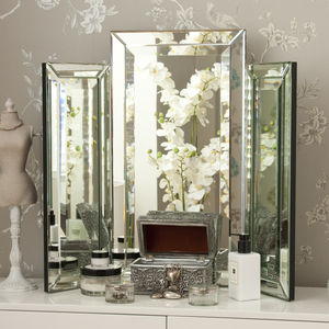 Medium Bevelled Dressing Table Triple Mirror - mirrors