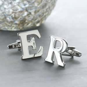 Personalised Alphabet Cufflinks - wedding jewellery
