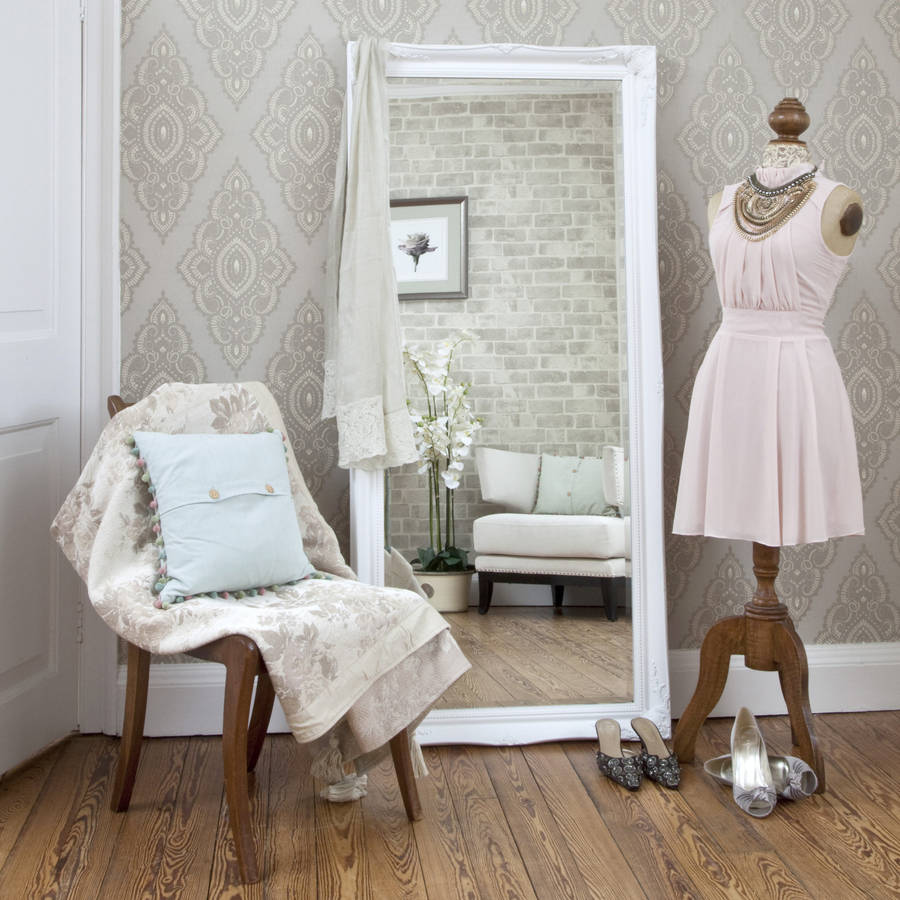 Simple classic french white mirror by decorative mirrors for Fancy white mirror