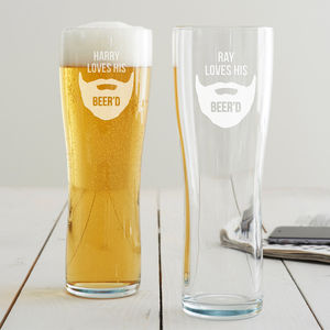 Personalised 'Loves His Beer'd' Pint Glass - kitchen
