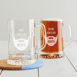 Personalised 'Loves His Beer'd' Tankard - tableware