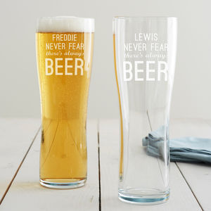 Personalised 'Never Fear' Pint Glass - tableware