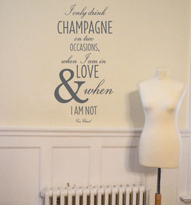 Chanel Champagne Quote Wall Sticker - home accessories
