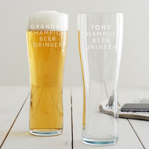 Personalised 'Champion Beer Drinker' Pint Glass - summer sale