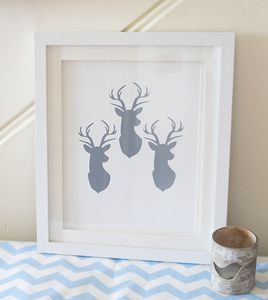 'Three Stags' Heads' Print