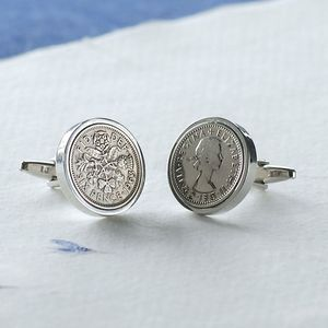 Personalised Lucky Sixpence Cufflinks - cufflinks