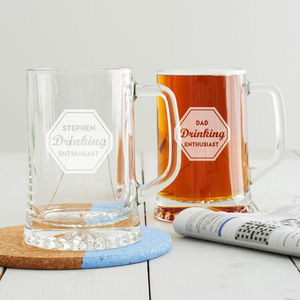 Personalised 'Drinking Enthusiast' Beer Tankard - gifts from adult children