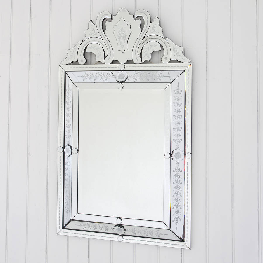 Embellished venetian style mirror by decorative mirrors for Embellished mirror frame