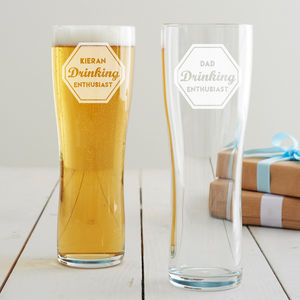 Personalised 'Drinking Enthusiast' Pint Glass - summer sale