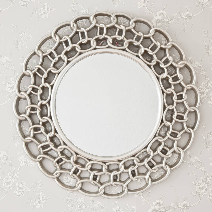 Silver link round mirror by decorative mirrors online for Fancy mirror