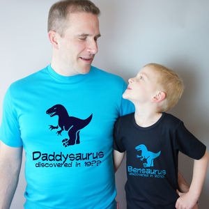Dad And Child Dinosaur T Shirt Set - personalised