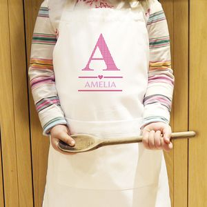 Personalised Girls Initial Kids Apron - kitchen